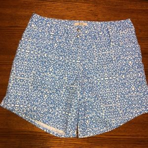 Blue and white ADIDAS graphic shorts